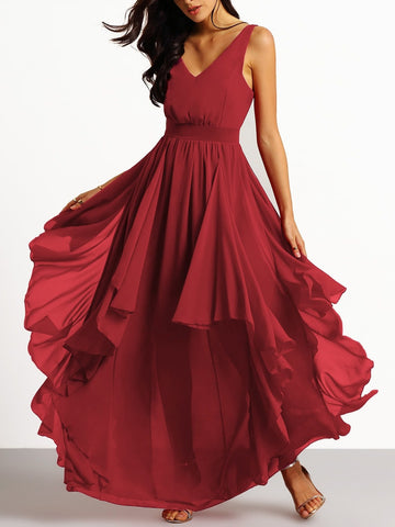 Chiffon Backless Asymmetrical Hem Prom Dress