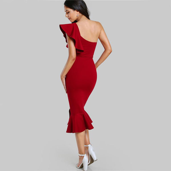 Burgundy One Shoulder Fishtail Flounce Midi Dress - LB Boutique