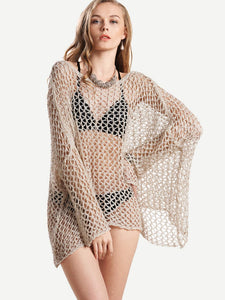 Crochet Eyelet Asymmetrical Hem Cover Up