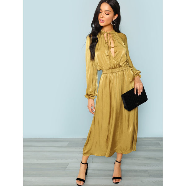 Cut Out Neck Lantern Sleeve Surplice Wrap Dress - LB Boutique