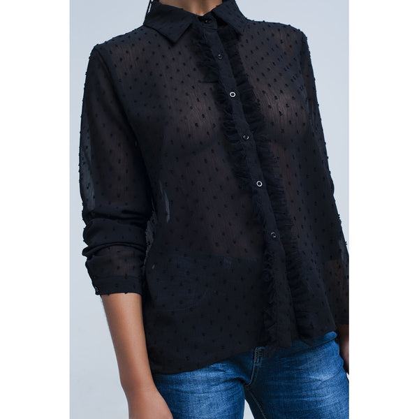 Black transparent shirt with embroidered polka dots - LB Boutique
