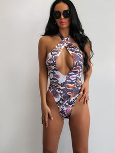 Joyfunear Snakeskin Print Cut-out Halter One Piece Swimsuit