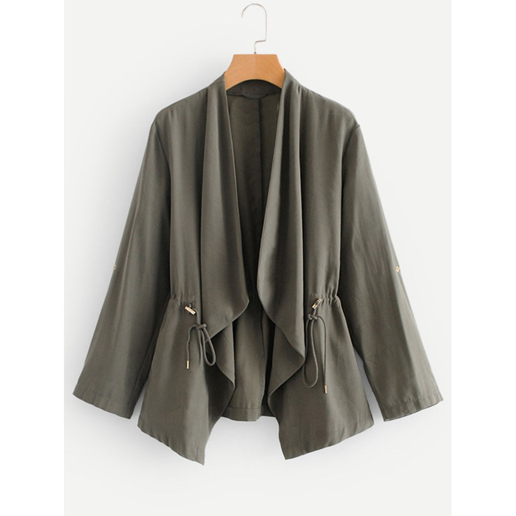 Drawstring Waist Roll Up Sleeve Coat