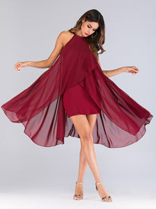 Solid Asymmetrical Hem Dress