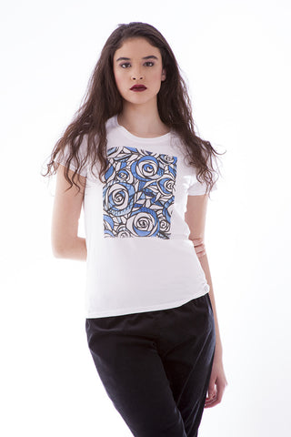 Women's Fashion T-Shirt - Blue Roses