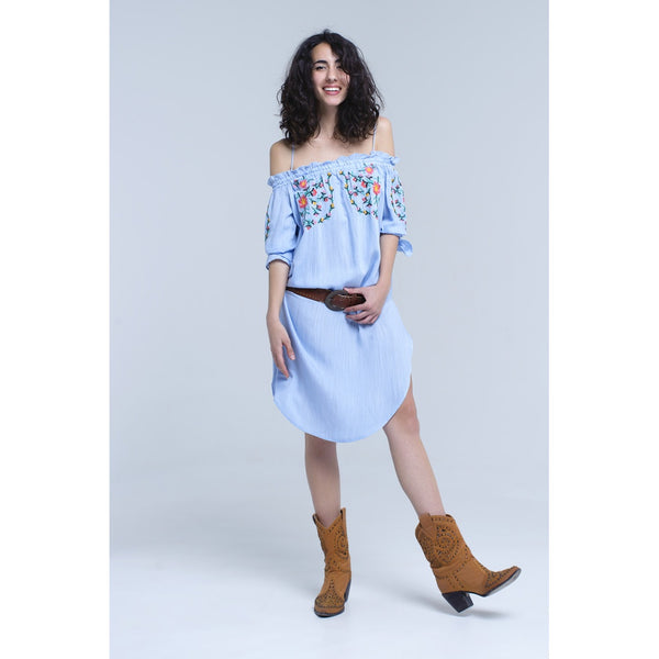 Blue off the shoulder embroidered midi dress - LB Boutique