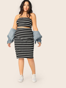 Plus Striped Bandeau Top & Pencil Skirt Set