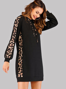 Contrast Leopard Print Drawstring Hoodie Dress
