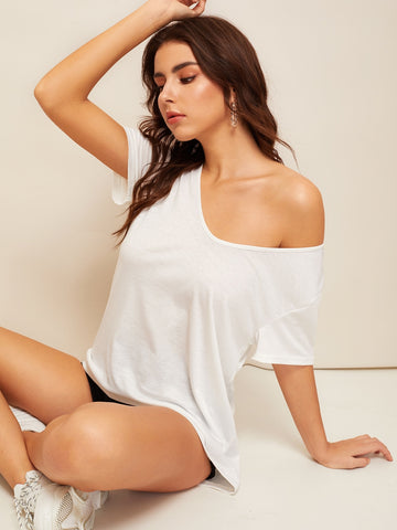 Solid V Neck High Low Hem Tee
