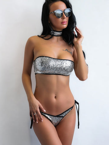 Joyfunear Sequin Bandeau Top With Tie Side Bikini Set