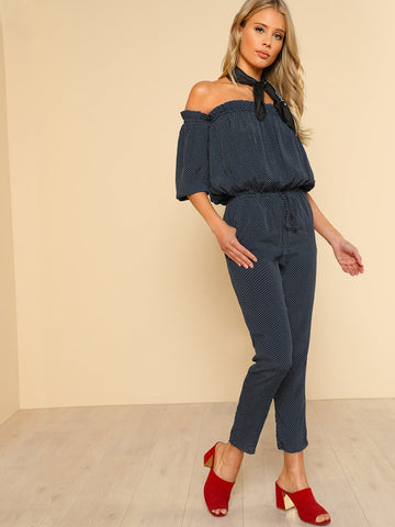 Off Shoulder Tie Waist Pocket Side Blouson Jumpsuit