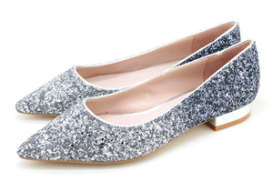 Glitter Pointed Toe Ballet Flats (S/Blue)