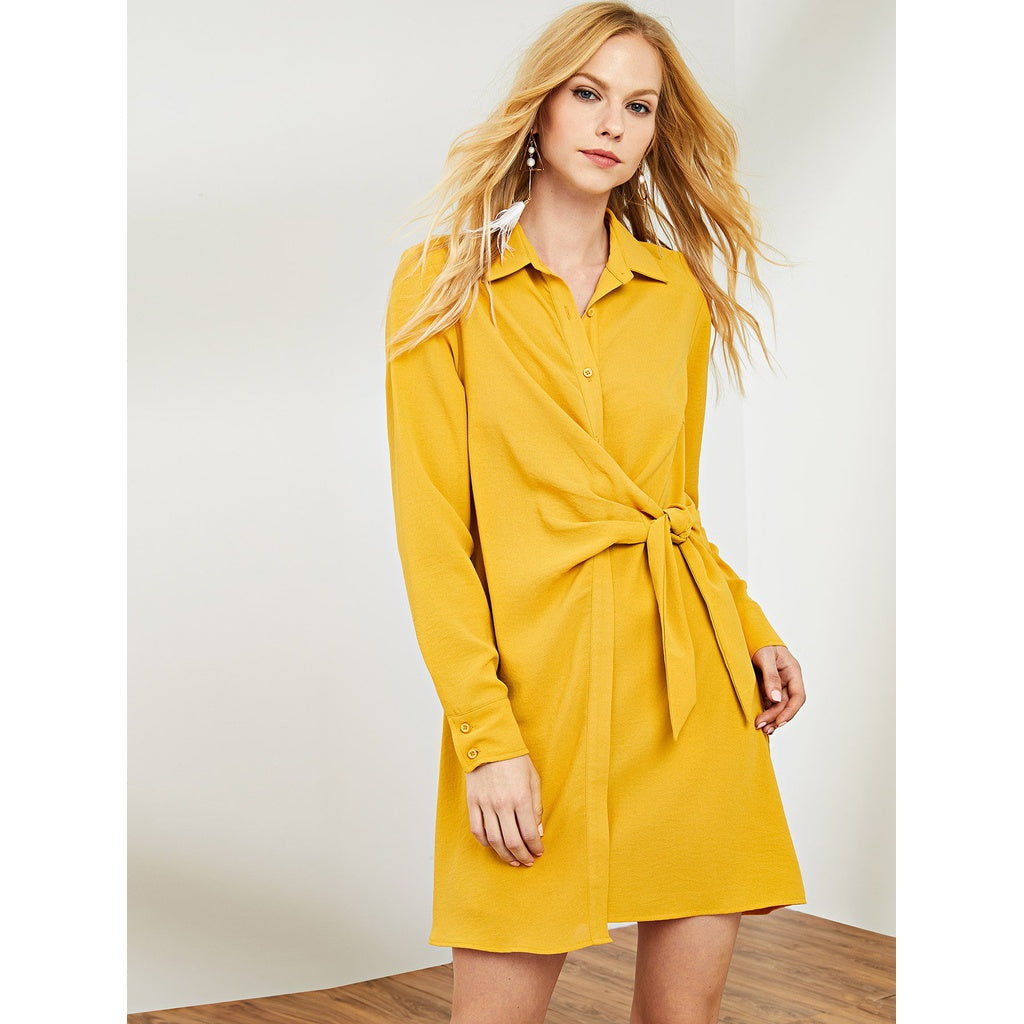Knot Front Shirt Dress