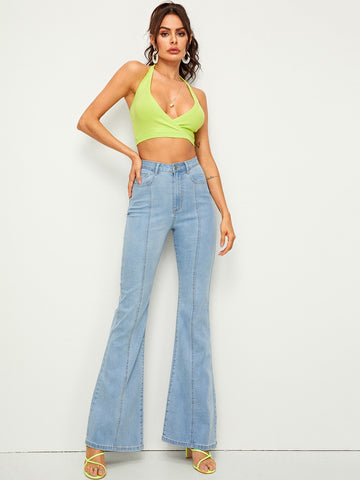 Bleach Wash Flare Leg Jeans