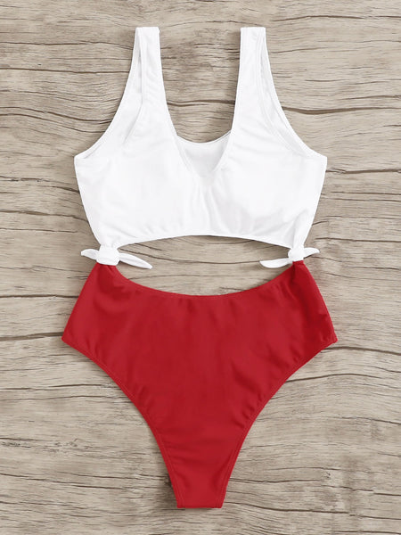 Two Tone Cut-out Tie Side Monokini