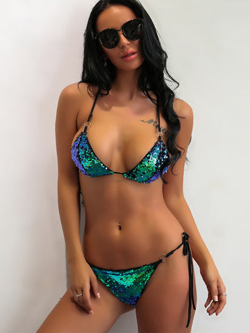 Joyfunear Sequin Halter Top With Tie Side Bikini Set