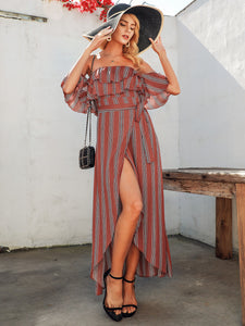 Simplee Striped Ruffle Trim Bardot Wrap Belted Dress