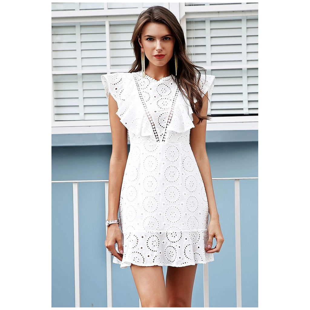 Embroidery Ruffle High Waist Keyhole back dress