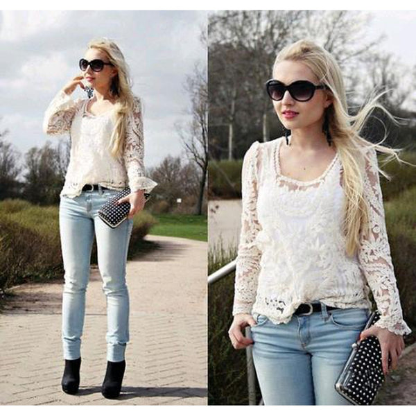 Beige Long Sleeve Hollow Out Crochet Lace Blouse - LB Boutique