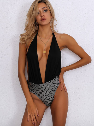 Joyfunear Fish Scale Plunge Neck One Piece Swimsuit