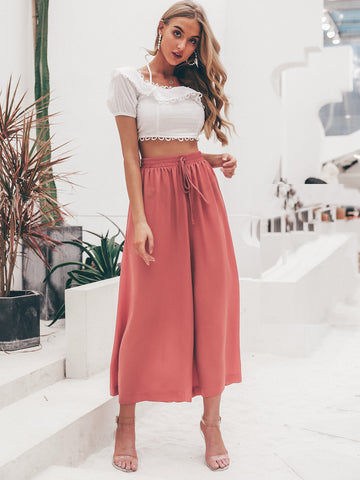 Simplee Solid Drawstring Waist Crop Wide Leg Trousers