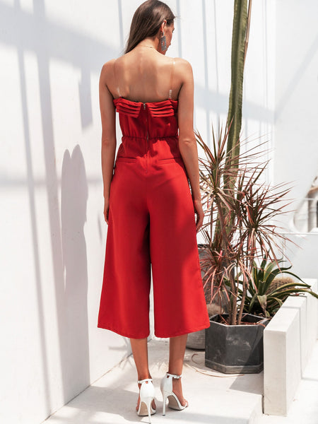 Simplee Solid Zip Back Wide Leg Tube Jumpsuit With Strap