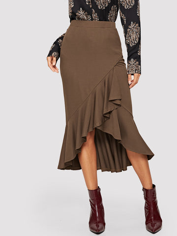 Asymmetrical Ruffle Hem Solid Skirt