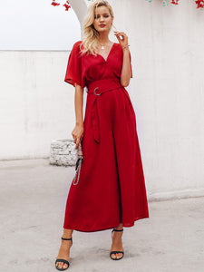 Simplee Solid Surplice Neck Belted Wide Leg Jumpsuit