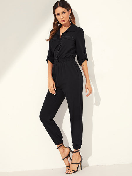 Rolled Tab Sleeve Utility Shirt Jumpsuit