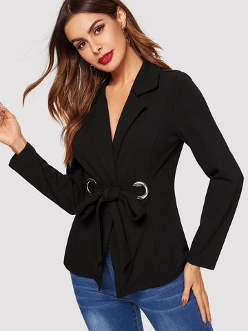 Notch Collar Grommet Knot Front Fitted Blazer