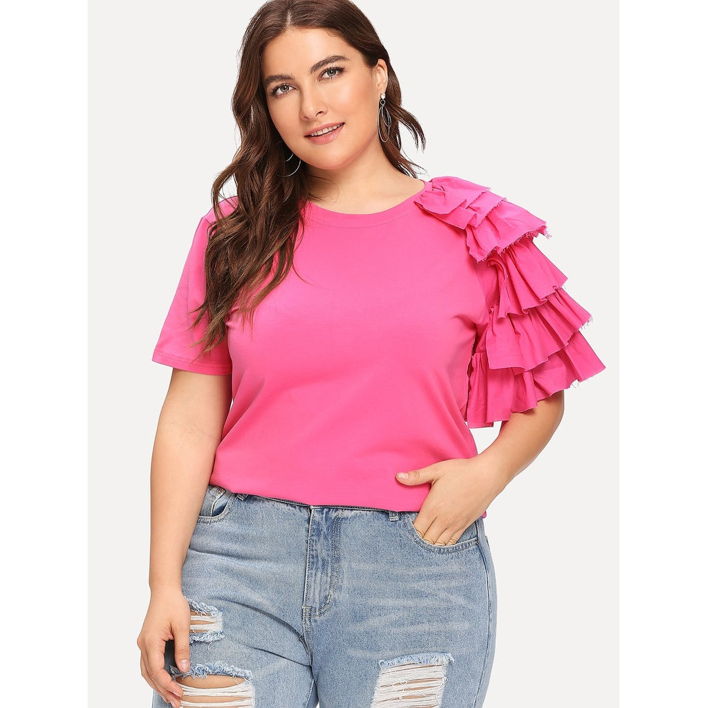 Plus Layered Ruffle One Sleeve T-shirt