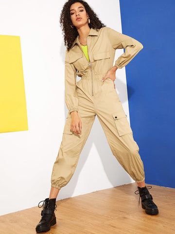 Zip Front Multi-pocket Equipment Utility Jumpsuit