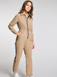 Zip Up Elastic Waist Equipment Utility Jumpsuit