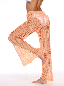 Sheer Drawstring Waist Crochet Flared Pants