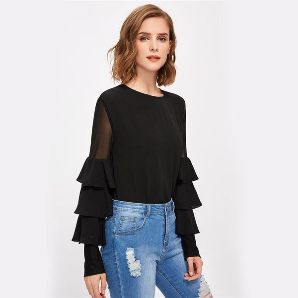 Black Long Sleeve Women's Mesh Insert Tiered Bell Sleeve Blouse - LB Boutique