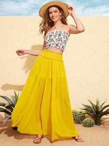 Frill Trim Shirred Waist Culottes Trousers