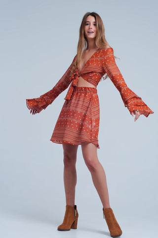 Orange skirt with print