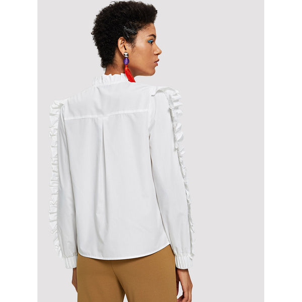 Frill Trim O-Ring Zip Up Blouse