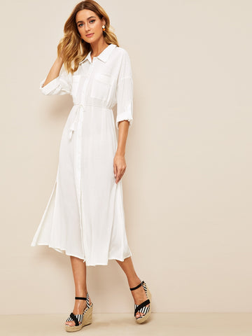 Self Tie Slit Hem Shirt Dress