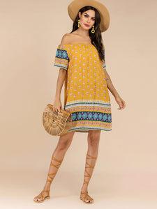 Tribal Print Off Shoulder Dress
