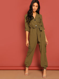 Lace Flap Pocket Front Rolled Tab Sleeve Utility Shirt Jumpsuit