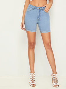 Roll Hem Denim Cycling Shorts