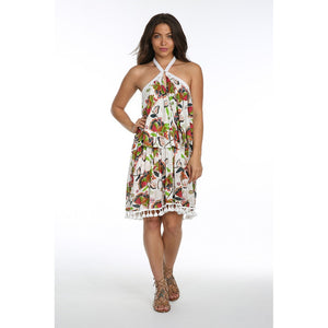 TROPICAL PARADISE HALTER SHORT DRESS