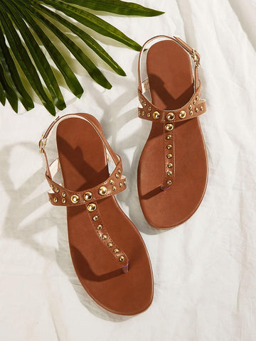 Studded Decor Toe Post Sandals