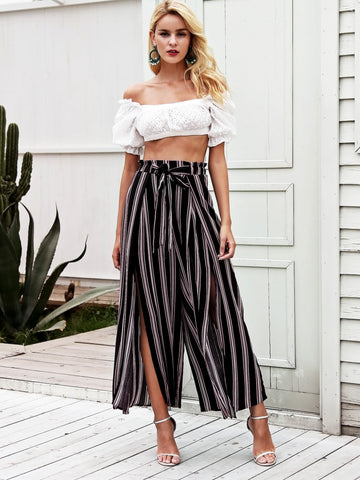 Simplee Split Thigh Tie Waist Striped Wide Leg Trousers