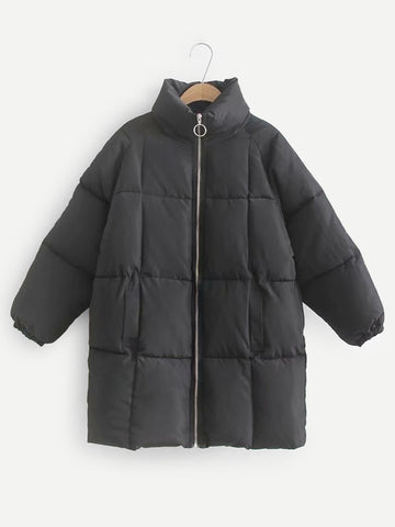 Stand Neck Solid Puffer Coat