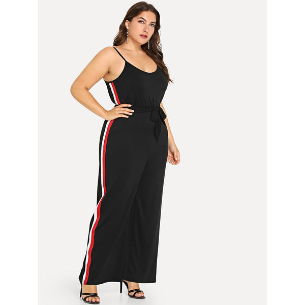 Plus Contrast Taped Side Jumpsuit