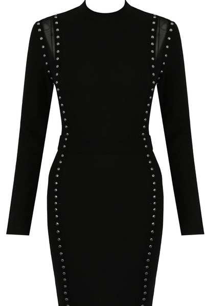 Front view of Black bodycon dress with sheer panels and stud detail - LB Boutique