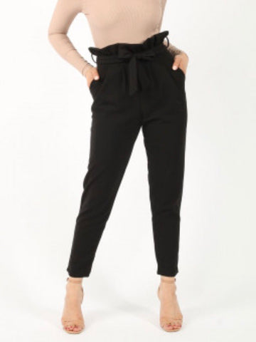 Lady Wearing Black paper bag trousers with belt - LB Boutique