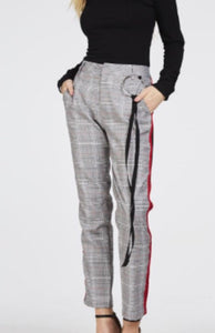 Checked side stripe trousers - LB Boutique